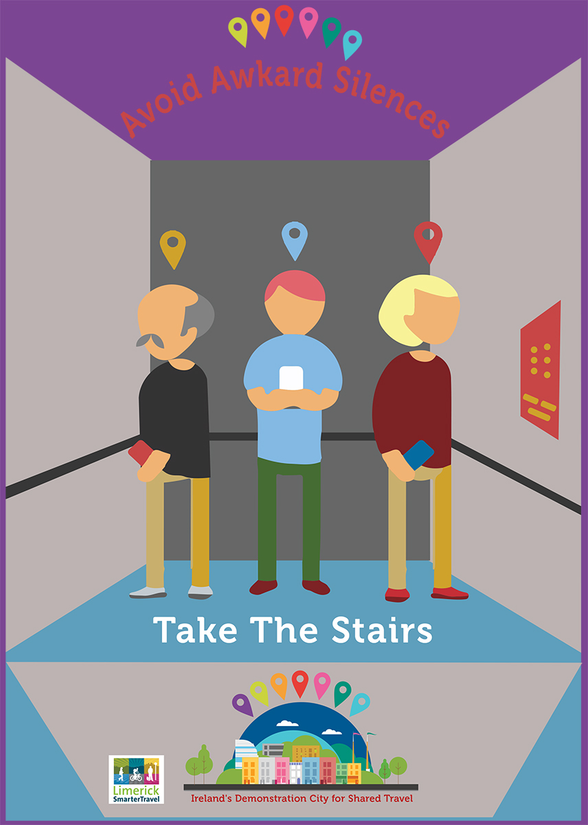 Elevator Poster to promote people to take the stairs  with humour